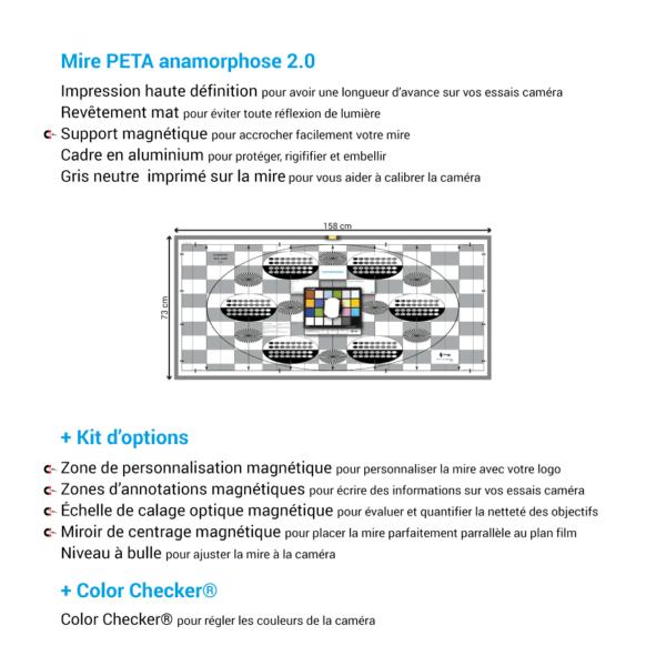 Mire de calage optique PETA 2.0 de chez Prêt À Tourner avec Kit d'options et Color Checker Classic