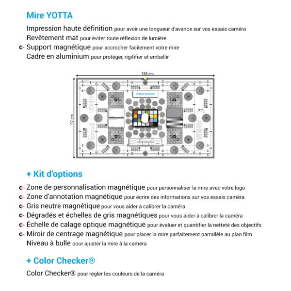 Mire de calage optique YOTTA de chez Prêt À Tourner avec Kit d'options et Color Checker Classic