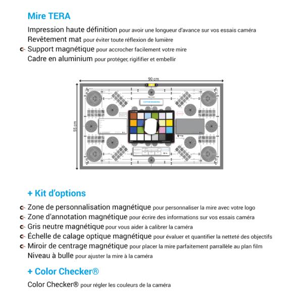 Mire de calage optique TERA de chez Prêt À Tourner avec Kit d'options et Color Checker Classic